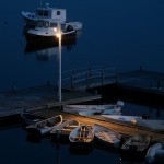 Dinghies at night