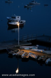 Dinghies at night, Mount Desert Island, Maine. Acadia National Park