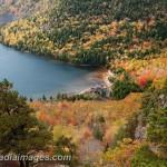 Autumn foliage surround Jordan Pond, Acadia National Park, Maine