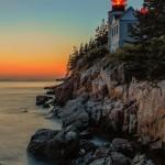 Bass Harbor Head Lighthouse at dusk.  Acadia National Park