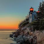 Bass Harbor Head Lighthouse at dusk. Acadia National Park Lighthouse