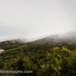 Low clouds scrape the tops of Mount Desert Island peaks. Acadia National Park.
