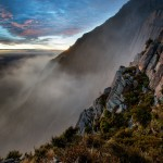 Morning mist rising up the volcanic columns of Mount Somers, Canterbury, New Zealand