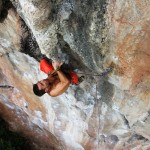Petr powering through a climb in the Hidden World Wall, Railay, Thailand