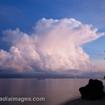 Dawn at Moalboal Beach in the Philippines captures a bolt of lightning out of a storm cloud