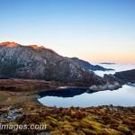 Clark Peak and Boulder Lake at dawn, New Zealand