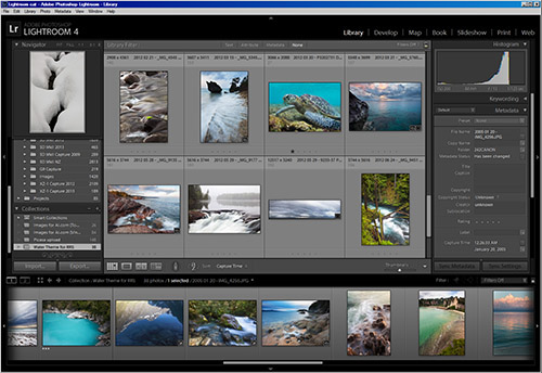 Lightroom Interface: efficiently organize, sort, and develop images.